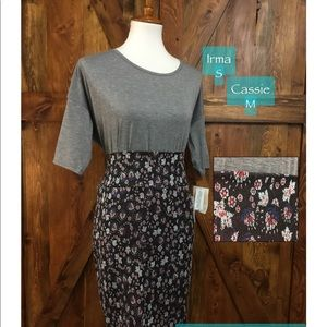 LuLaRoe outfit- Irma S gray, M Cassie pencil skirt